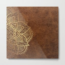 Mandala - Leather Metal Print