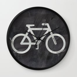 Bicycle on chalkboard Wall Clock