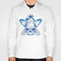 surfboard Hoodies featuring skull on surfboard background by Doomko