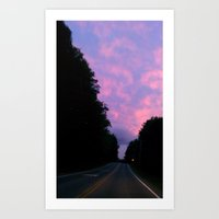 night sky of pink and blue Art Print