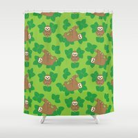 stanley kubrick Shower Curtains featuring Stanley Sloth by Joanne Paynter