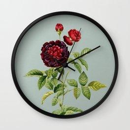 Vintage One Hundred Leaved Rose Botanical Illustration on Mint Green Wall Clock