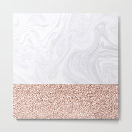 White Marble Dipped in Rose Gold Glitter Metal Print