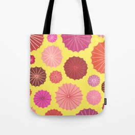 Umbrellas from above in yellow Tote Bag