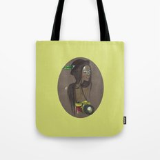 Girl with Photo Camera Tote Bag