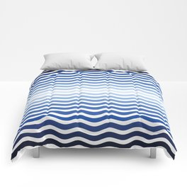 Ocean waves navy blue striped pattern, minimalist summer waves Comforters