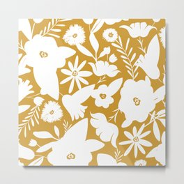 Finley Floral Goldenrod Yellow Metal Print