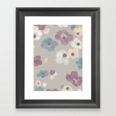 Watercolor Blooms - in Taupe Framed Art Print