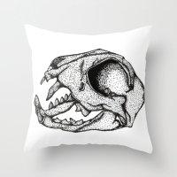 animal skull Throw Pillows featuring Animal Skull by Emma Heller