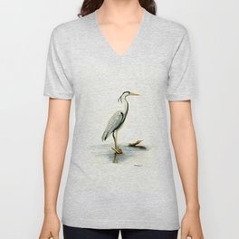 Blue Heron - watercolor bird, home decor, nursery wall art Unisex V-Neck