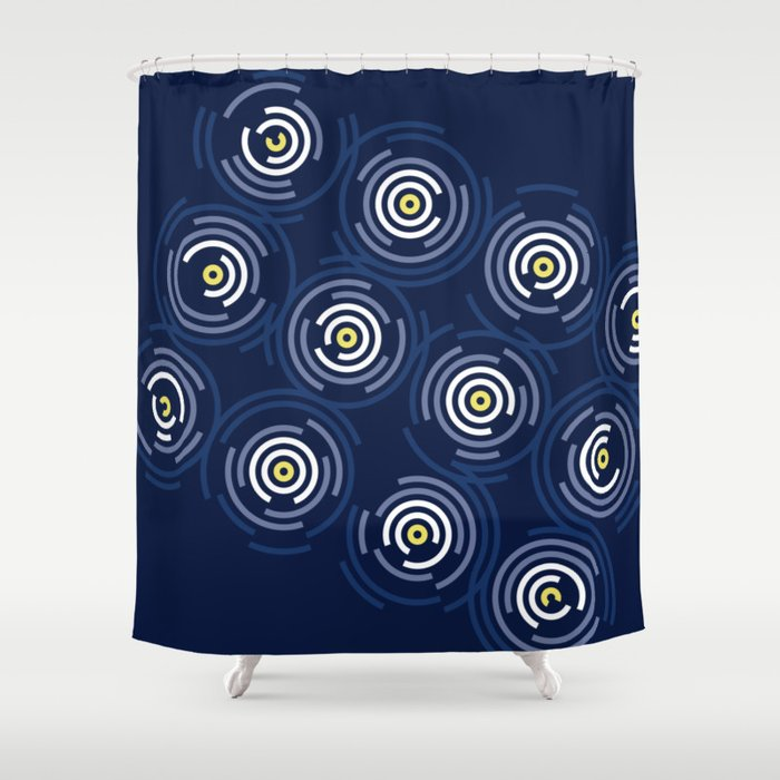 Spin Cycle Navy Yellow Blue Circle Pattern Shower Curtain