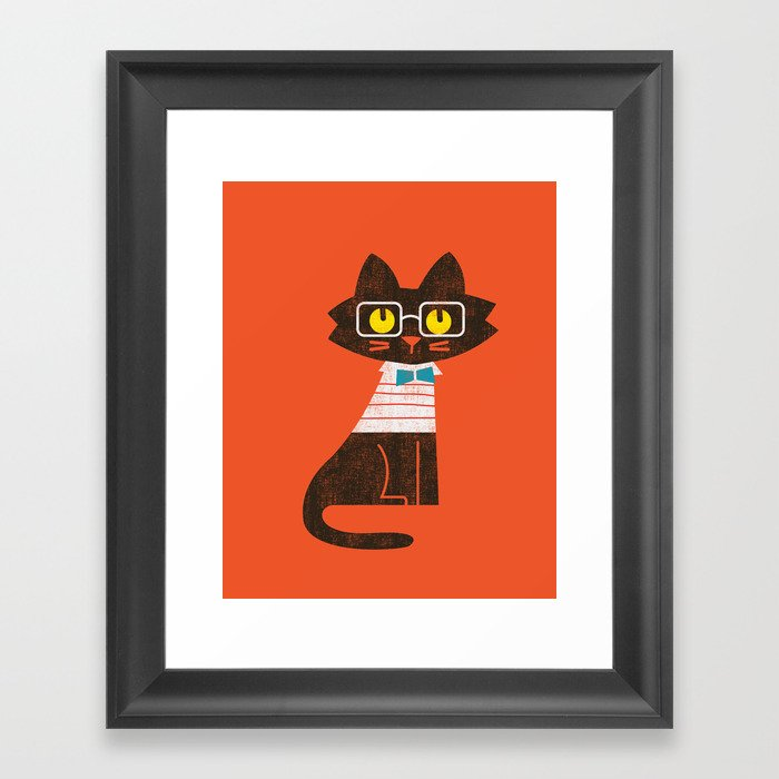 Fitz - Preppy cat Framed Art Print