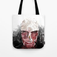 shingeki no kyojin Tote Bags featuring The Hunter and The Pig by icantusechanwei