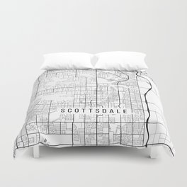 Scottsdale Map, Arizona USA - Black & White Portrait Duvet Cover