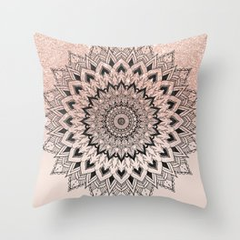 Boho black watercolor floral mandala rose gold glitter ombre pastel blush pink Throw Pillow