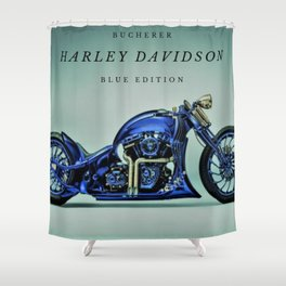 Bucherer Blue Edition Motorcycle Art Shower Curtain