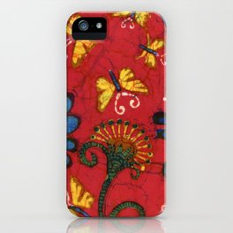 Batik butterflies and flowers on red iPhone Case