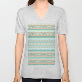 Striped mint green and orange background with dots Unisex V-Neck