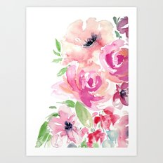 Pink Watercolor Florals with Greenery Art Print