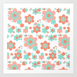 Coral and Mint Green Floral Art Print
