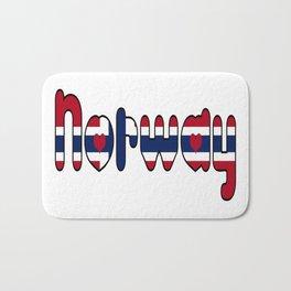 Norway Font with Norwegian Flag Bath Mat