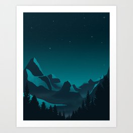 Twilight Teal Mountains Art Print