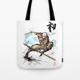 Aang from Avatar the Last Airbender sumi/watercolor Tote Bag