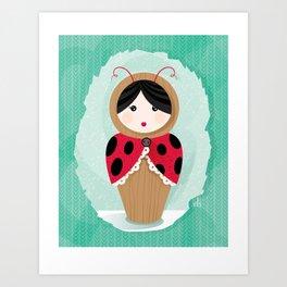 Ladybug Matryoshka Art Print