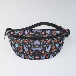 Lotus and Moths (colored) Fanny Pack