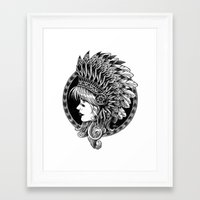 headdress Framed Art Prints featuring Headdress by BIOWORKZ