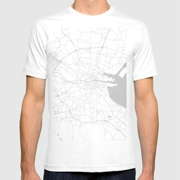 White on Light Grey Dublin Street Map T-shirt