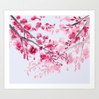 cherry blossoms Art Prints featuring Cherry Blossoms  by Catherine Holcombe