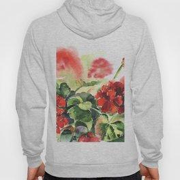 plant geranium, flowers and leaves, watercolor Hoody