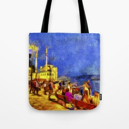 Istanbul At Night Van Gogh Tote Bag