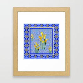 Shades of Blue Yellow Calla Lily Art Framed Art Print