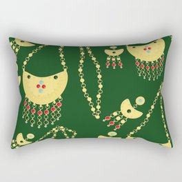 Traditional jewelery green Rectangular Pillow