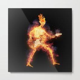 Flaming Skeleton Guitarist 4 Metal Print