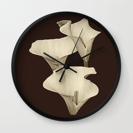 Cream Calla Lilly. Wall Clock