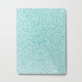 Spacey Melange - White and Verdigris Metal Print