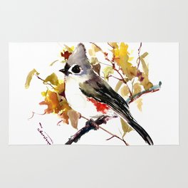 Titmouse and Fall colors foliage bird art design bird lover gift vintage style Rug