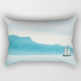 Modern Minimalist Landscape Ocean Pastel Blue Mountains With White Sail Boat Rectangular Pillow