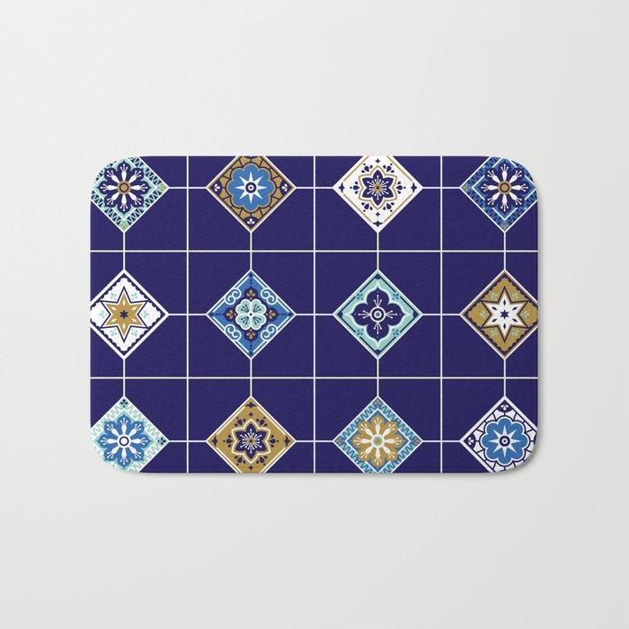 Talavera Mexican Tile – Navy & Bronze Palette Bath Mat