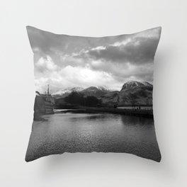 Scottish Highlands Ben Nevis from Caledonian Canal B & W Throw Pillow