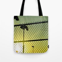 santa monica Tote Bags featuring Santa Monica by Nicole Dupee