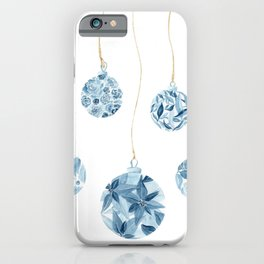 Merry Christmas Blue and White Baubles iPhone Case