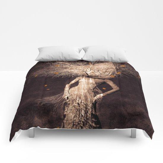 Dark portrait in autumn (colour option) Comforters