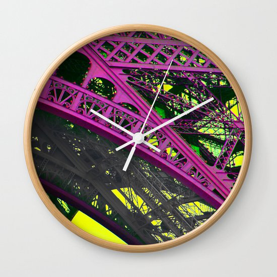 purple paris Wall Clock