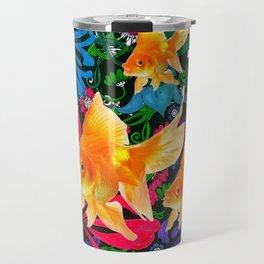 Flowery Goldfish Aquatic Dreamscape Fantasy Travel Mug