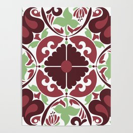 Mid Century Modern Flower Pattern Red and Green Poster