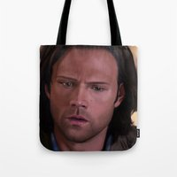 sam smith Tote Bags featuring Sam by Mel Hampson